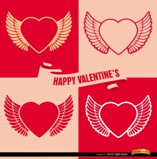 4 Valentines Winged Heart Backgrounds Free Vector