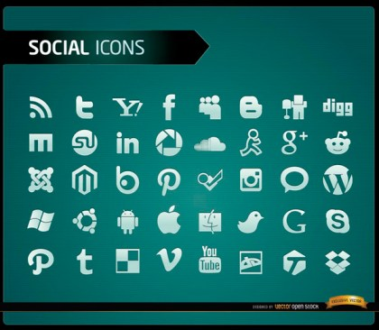 40 Social Media Icons Free Vector