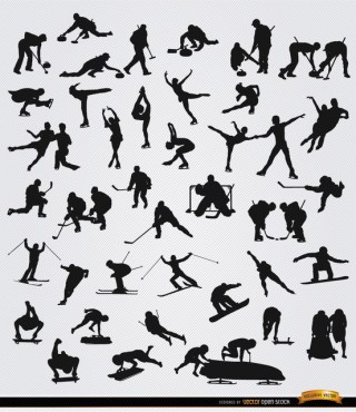 40 Winter Sports Silhouettes Free Vector