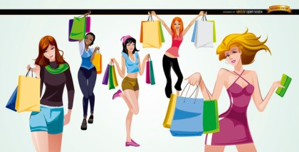 5 Girls with Shopping Bags Free Vector