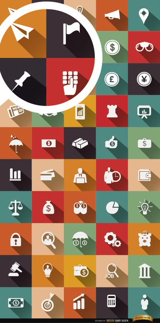 50 Financial and Business Icons Free Vector