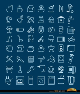 56 House Objects and Tools Icons Free Vector