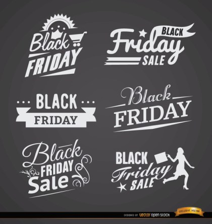 6 Black Friday Sales Labels Free Vector
