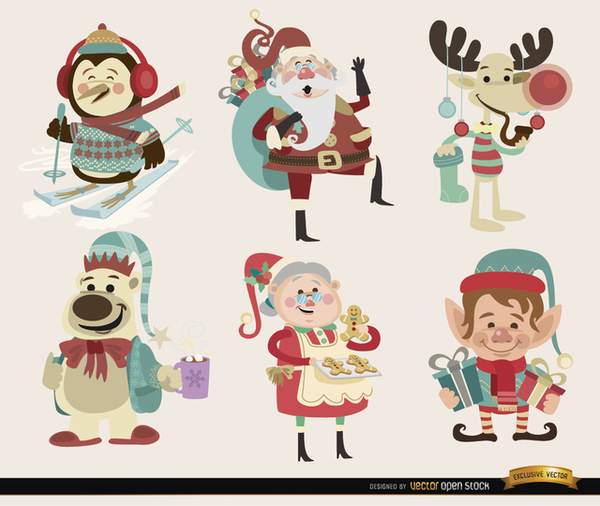 6 Christmas Cartoon Characters Free Vector