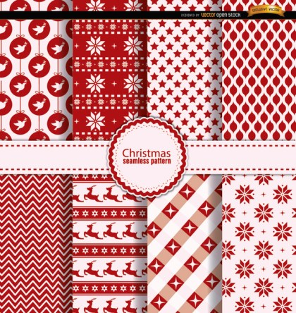8 Christmas Seamless Patterns Red White Free Vector