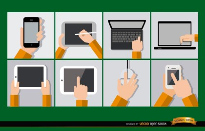 8 Mobile Computer Devices Free Vector