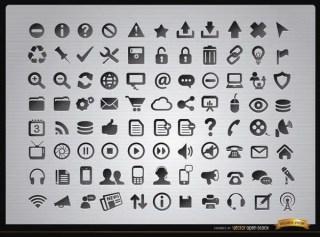 88 Web Menus and Media Icons Free Vector
