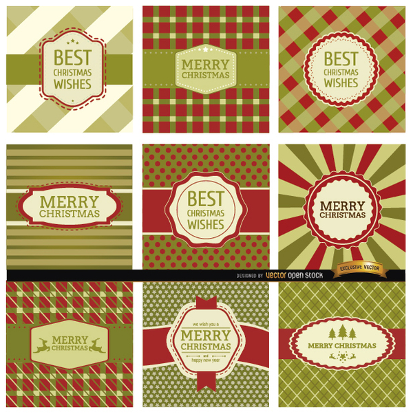 9 Abstract Christmas Label Backgrounds Free Vector