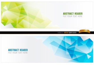 Abstract Blue Green Polygonal Headers Free Vector