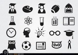 Academic School Icons Set Free Vector