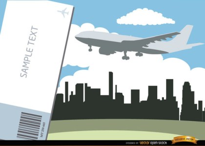 Airplane Flying City Skyline and Ticket Free Vector