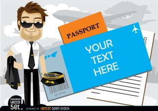 Airplane Pilot Beside Text In Passport Free Vector