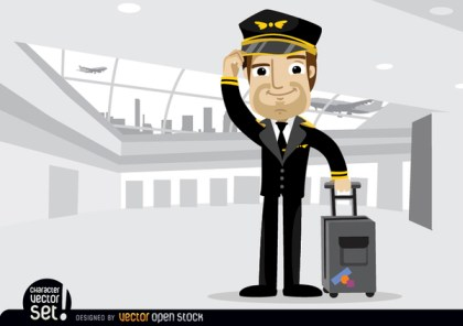 Airplane Pilot with Baggage In Airport Free Vector