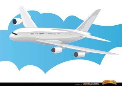 Airplane Traveling In Sky Free Vector