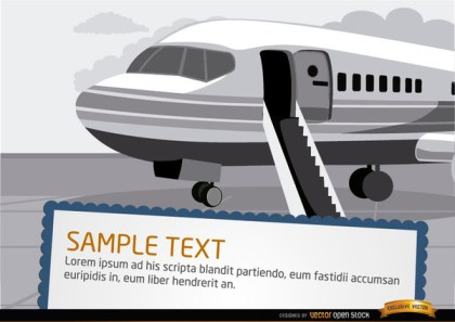 Airplane with Ladder In Airport Free Vector