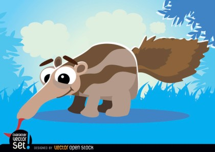 Ant-Eater on Grass Cartoon Animal Free Vector