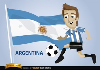 Argentina Football Cartoon Character Flag Free Vector
