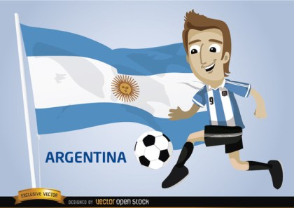 Argentina Football Cartoon Character Flag Free Vector