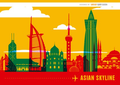 Asian Skyline Landmarks Background Free Vector