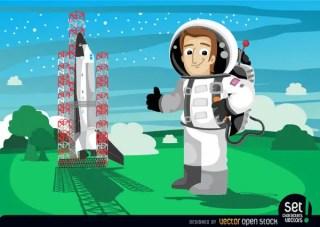 Astronaut Beside Space Shuttle Launch Free Vector