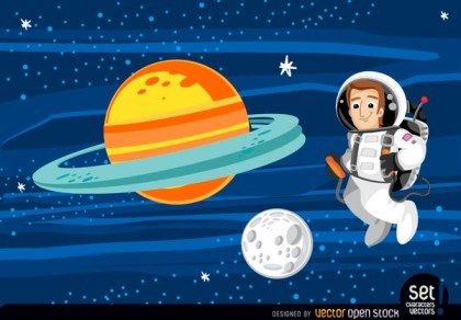 Astronaut Floating In Outer Space Free Vector