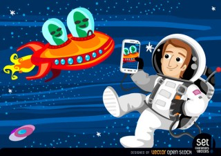 Astronaut Photographing Aliens In Space Free Vector