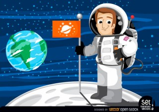 Astronaut with Flag In The Moon Free Vector