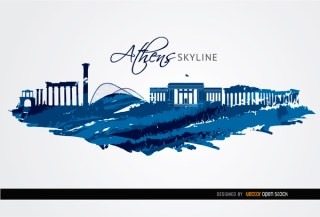 Athens Landmarks Painted Blue Free Vector