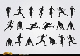 Athletes Silhouettes Set Free Vector