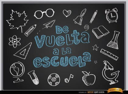 Back to School Blackboard Background Spanish Free Vector