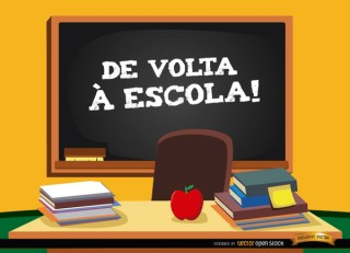 Back to School In Portuguese Background Free Vector