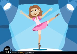 Ballerina Performing on Stage Free Vector