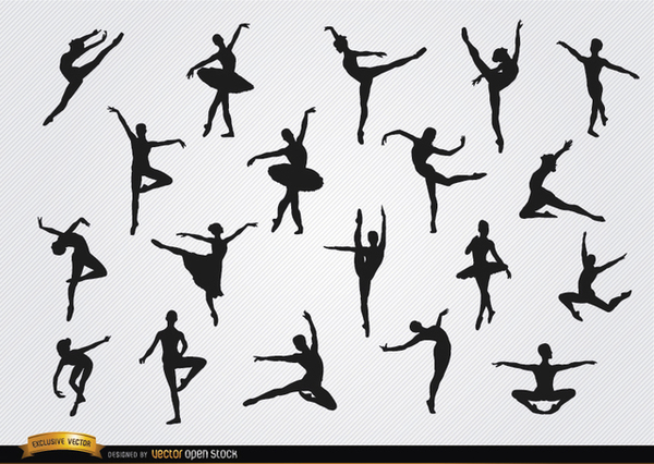 Ballet Dancer Silhouettes Set Free Vector