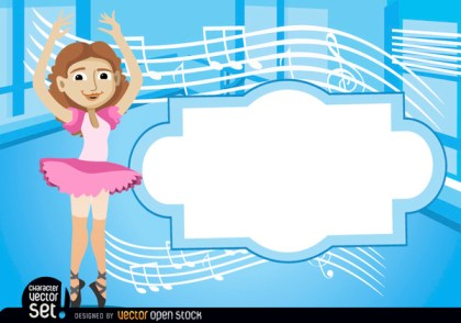 Ballet Dancer with Stave and Text Free Vector
