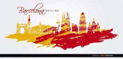 Barcelona Landmarks Skyline Art Background Free Vector