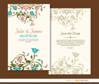 Beautiful Floral Wedding Invitations Free Vector