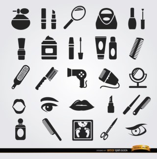Beauty Women Objects Cosmetics Icons Free Vector