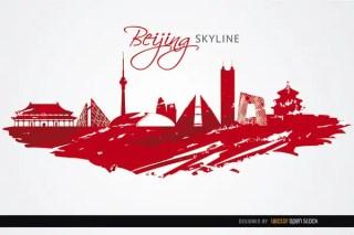 Beijing Landmarks Painted Red Background Free Vector
