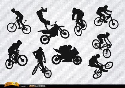 Bicycle Motocross Bmx Silhouettes Free Vector