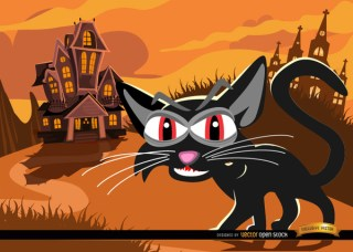 Black Cat and Haunted Mansion Background Free Vector