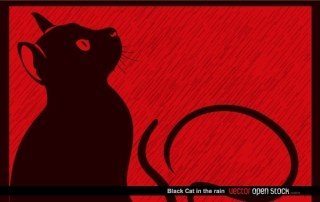 Black Cat In The Rain Free Vector