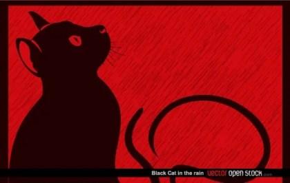 Black Cat In The Rain Free Vector