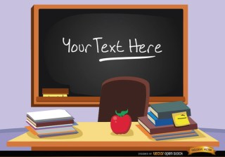 Blackboard In Classroom with Text Free Vector