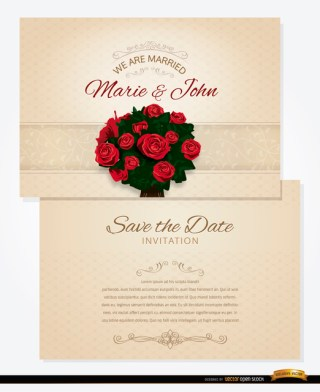 Bouquet Wedding Invitation and Sleeve Free Vector