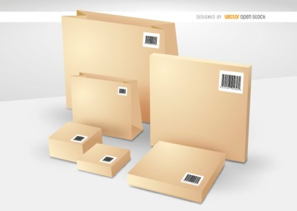 Boxes and Bags with Codebars Free Vector