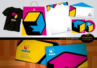 Branding Wbox Design For Stationery and T-Shirts Free Vector
