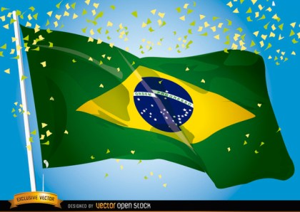 Brasil 2014 Flag Waving Celebration Free Vector