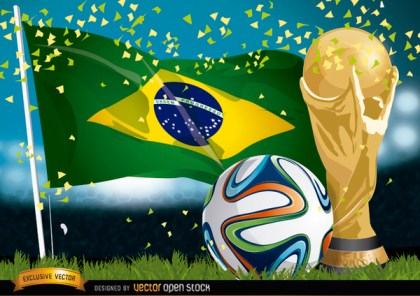 Brasil 2014 Football, Flag and Trophy Free Vector