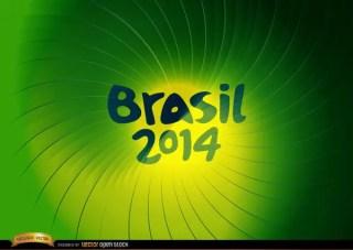 Brasil 2014 Green Whirl Background Free Vector