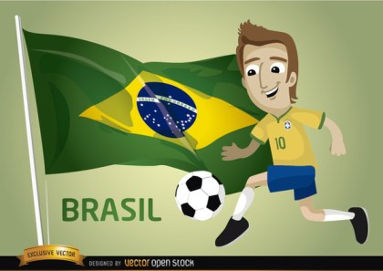 Brasil Football Cartoon Player Flag Free Vector